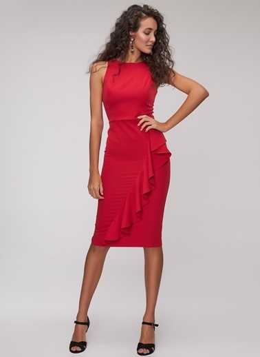 People By Fabrika Volanlı Midi Elbise Kırmızı